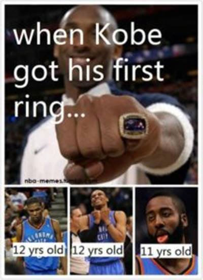 """Nba Funny Pictures """"When Kobe got his first ring…"""""""
