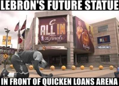 """Memes Pictures """"Lebron's future statue in front of quicken loans arena"""""""