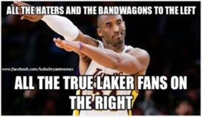 """Nba Meme """"All the haters and the bandwagons to the left all the true Laker fans on the right """""""