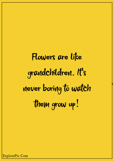 """80 Grandparents Quotes """"Flowers are like grandchildren. It's never boring to watch them grow up!"""""""