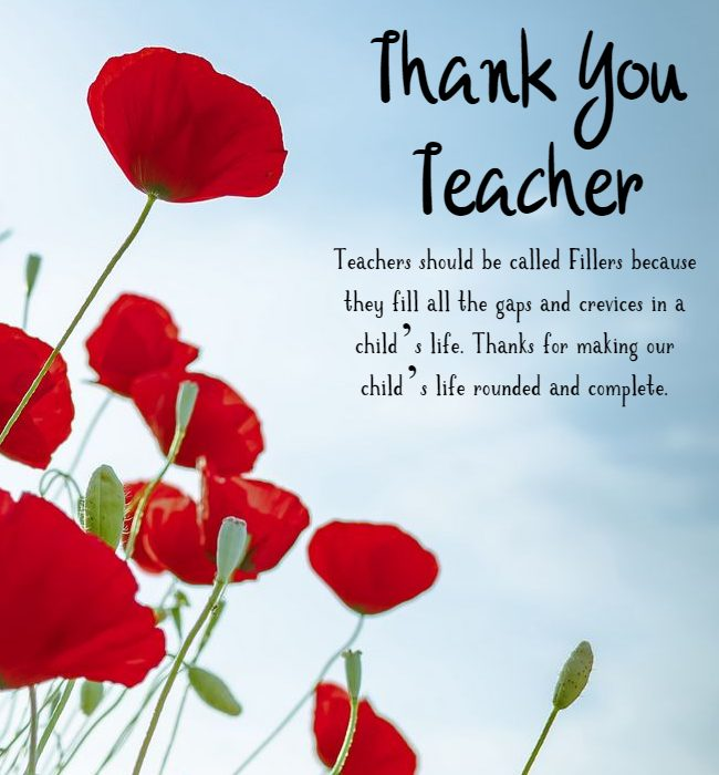 thank you message to teacher from parents